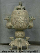 32 Ancient Chinese Dynasty Old Antique Bronze Ware 3 Foot Bird Beast Pot Censer