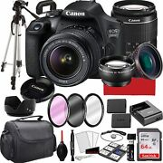 Canon Eos 2000d Rebel T7 Dslr Camera With 18-55mm F/3.5-5.6 Zoom Lens, 64gb