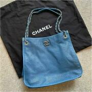 French Riviera Chain Shoulder Bag 353015cm Blue Punch Leather
