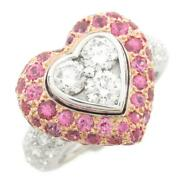 Auth Jewelry Pink Sapphire Diamond Ring 11 K18 White Gold 1.50ct 1.80ct Used