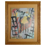 Purvis Young Medium Framed Original Signed Painting Figures And Buildings Coa