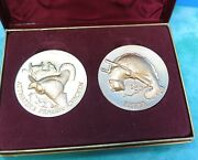2 Longines Wittnauer 24k On Sterling Silver Medallions Fisher And Prairie Chicken