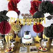 2021 Graduation Party Decorations White Burgundy Black With Class Of 2021 Banner