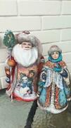 Handmade Collectible Carved Figures Of Santa Claus And Snow Maiden.