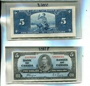 Canada 1937 5 Currency Note Black On Blue Ch Cu E/s Series 3281p