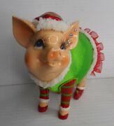Piggy Bank Female Christmas Pig Dressed In Holiday Apparel For Santa Claus