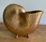 Vintage Solid Brass Nautilus Seashell Planter Cache Pot With Feet