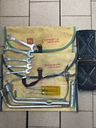 Toyota Motor Vintage Teq Tool Kit Roll Up Bag Wrench Plier 1960s 1970s Lot Of