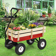 Outdoor Pulling Garden Cart Wagon With Wood Railing Ideal For Gardenerand039s