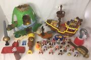 Huge Lot Of 33 Pieces - Disney Jake And The Neverland Pirates Play Sets Figures