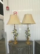 Vintage Pair Of Italian Toel Lamps With Lemons And Birds