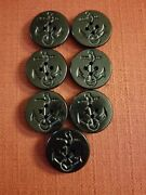 Lot Of 7 Vintage Black Nautical Navy Pea Coat 4 Hole Buttons 1.25andrdquo Anchor And Rope