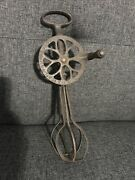 Rare Antique Improved Pattern Metal /iron Egg Beater Hand Mixer Wood Handle