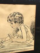 Original Charles Dana Gibson Pen And Ink Drawing Old Man And Girl Playing Card Game