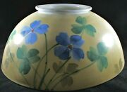 Antique 14 Opal Glass Hanging Oil Lamp Dome Shade 6 Top Bluebell Floral Motif