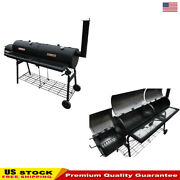 Yard Party 2in1 Traditional Smoker Bbq With Built-in Thermometer Nevada Xl Black