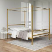 Twin Canopy Bed Frame Gold Metal Modern Design With Metal Slats