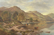 Signed Scottish Highlands Loch Scene And Cattle Oil Painting - J. Hamilton George