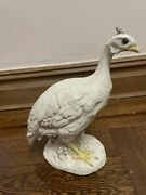 Signed Ann Townsend Ceramic Standing White Guinea Fowl Detailed Collectible