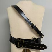 Brown Leather Officers Sam Browne Waist Belt And Cross Strap - Size 4 , New
