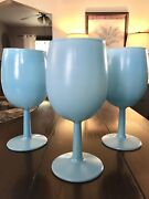 3vintage Blue Opaline Frosted Milk Glass Wine Glasses Italy