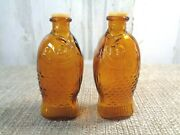 Vintage Bitters Fischs Amber Glass Fish Bottle Small Salt And Pepper Shakers 3