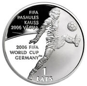 Latvia 1 Lats 2004 Silver Proof And039fifa World Cup - Germanyand039