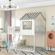 Twin Size Bunk House Bed With Rustic Fence-shaped Guardrail Ladder Gray Loft Bed