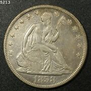 1858-s Liberty Seated Half Dollar Vf/xf Free Sh After 1st Item