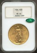 1924 20 Gold St. Gaudens Double Eagle Ms 64 Cac Ngcold Fatty Ngc Pq