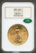 1924 20 Gold St. Gaudens Double Eagle Ms 64 Cac Ngcold Fatty Ngc Pq 21971300