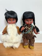 Vintage 1960s Lot Of 2 Native American Indian Dolls Handmade Costume Leather