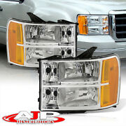 Chrome Amber Oe Style Replacement Head Lights Lamps Set For 2007-2014 Gmc Sierra