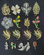Vintage Costume Jewelry Lot 7 16 Gerryand039s Marked Flowers And Poodles Brooches