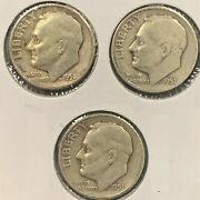 1951 Pds 90 Silver Roosevelt Dimes Good To Fine P D S Free Shipping
