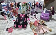 Monster High And Ever After High Fashion Dolls Lot Of 22 Plus Accessories2 Cars