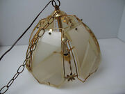 Vintage Kitchen Pendant Glass Hanging Ceiling Lamp W/ Long Chain Gold/6 Pc Glass