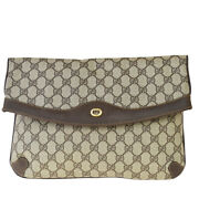 Authentic Gg Pattern Clutch Hand Bag Pvc Leather Brown Italy 61mh387