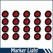 20x Round 2 Red 9 Led Mount Trailer Clearance Side Marker Light Lamp W/grommet