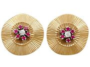 0.26 Ct Diamond And Synthetic Ruby 18carat Yellow Gold Stud Earrings - Vintage