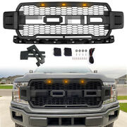 2 Look Matte Upper Grill Grille W/ Light Fits 18-20 Ford F150 F-150 Raptor Style
