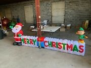 12 Ft. Long Outdoor Inflatable Merry Christmas Sign W/santa Clause And Elf Read D