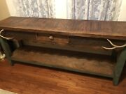 """Custom Made Solid Wood Console Table , 72"""" L X 30 1/2"""" T X 18"""" D, Antler Handles"""