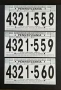 3 1999-2002 Pa Cardboard Temporary License Plates - 4321-558 To 4321-560