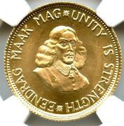 1974 South Africa 2 Rand Gold Coin, Ngc Ms-67, Wonderful Bright Luster, Top Pop