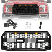 2 Look Matte Black Upper Grille Grill For 2015-2017 Ford F-150 F150 Raptor Style