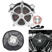 Air Cleaner Red Intake Filter+rain Sock For Harley Softail Flhr/t Fxdl/x Flstf/c