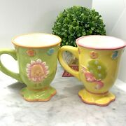 Debbie Mumm Pastel Bunny And Chick Easter Spring Mugs Cups Nwt