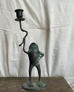 Frog On Lily Pad- Large Candlestick Vintage In Patinated Brass