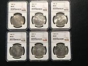 6 Different Date Morgan Dollars All Ngc63 Unc 1880-1904-0 Great Investment